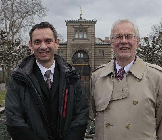 Der vormalige Zoo-Chef Prof. Dr. Dieter Jauch (re.) und der neue Wilhelma-Direktor Dr. Thomas Kölpin (li.) – Foto: Wilhelma
